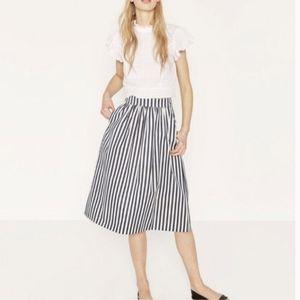 ZARA Navy & White Striped Midi Skirt Small